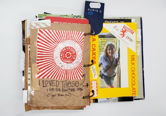 A favorite souvenir travel art journal spread