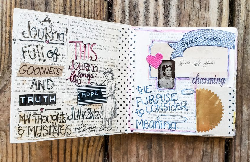 FAVORITE ART JOURNAL SPREADS: Stitched
