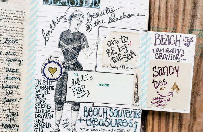 Oh, To Be by the Sea Art Journaling Spread